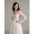 New Style Long Illusion Sleeve A-Line Lace Wedding Dresses Tulle Deep V Neck