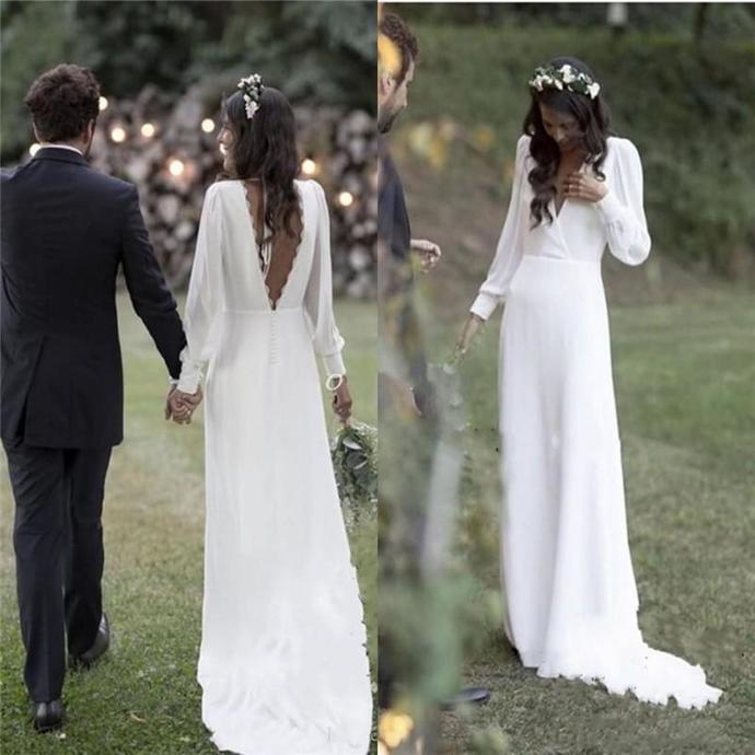 Bohemian Wedding Dresses 2019 V Neck Backless Sweep Train Chiffon Beach Garden