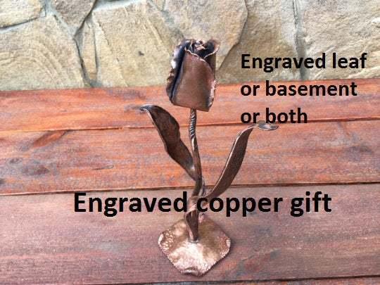 Copper tulip, tulip, copper gift for her, copper anniversary gift, 7 year