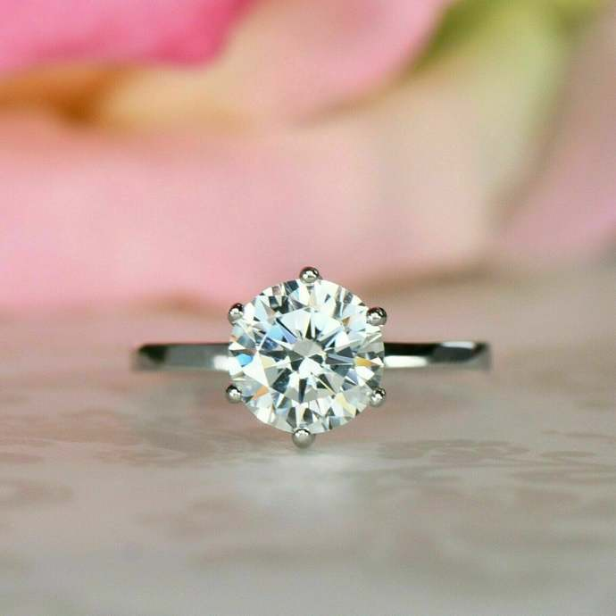 Certified 1.0 Carat TW. Solid 925 Sterling Silver Round Natural Moissanite