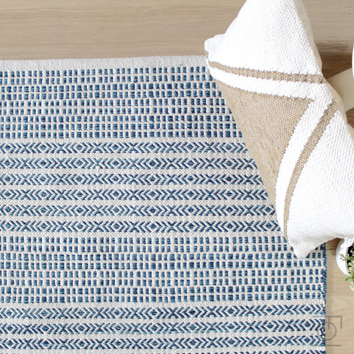 White-Blue Scandinavian rug. Pattern Cotton Rug. Ivory&BlueRug.Cotton Handwoven
