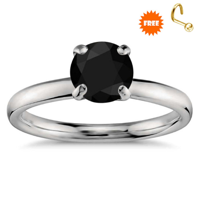 sterling silver ring round cut black gemstone ring