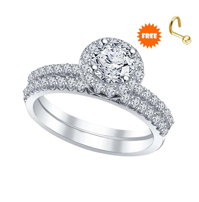 Solid 925 sterling silver round cut white diamond latest bridal ring set wedding