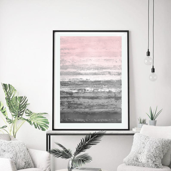 Printable Art, Art Poster, Digital Download, Wall Decor, gray and pink, modern