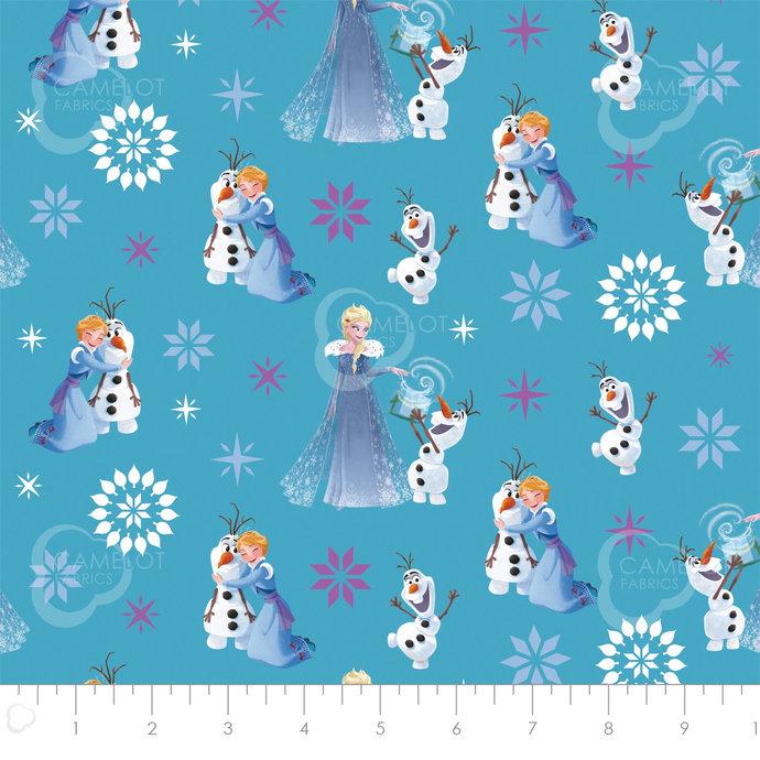 Licensed Frozen Winter wonderland in Teal - Part of the Olaf's Frozen Adventure