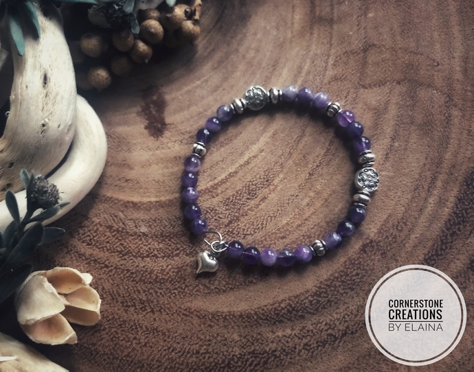Children's Beaded Amethyst Bracelet