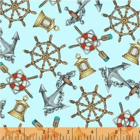 High Tide  Nautical Wheels Fabric by Anthology Fabrics - You choose the cut