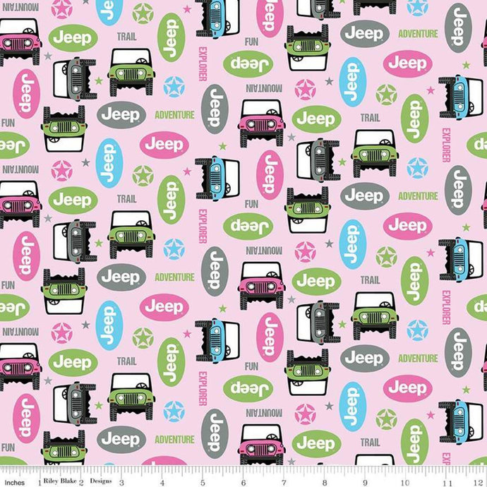 Adventure Awaits Beep Beep in Pink by Riley Blake Designs - your choice of cut