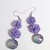 Purple Flower Galaxy Earrings, round faceted Focal bead, Silver ear wire