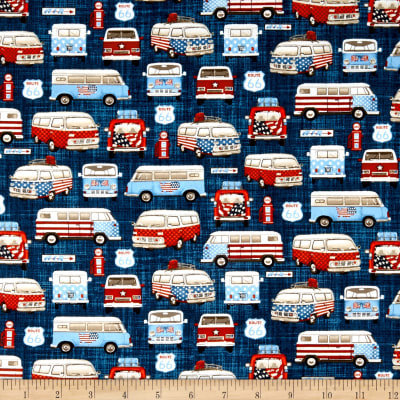 All American Road Trip Vans in Navy Fabric - your choice of cut