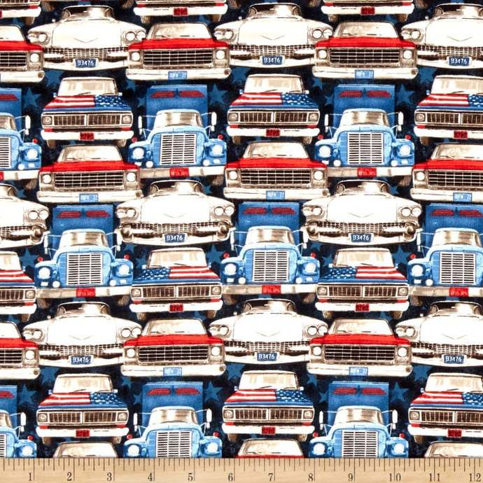 All American Road Trip Car and trucks front in Navy Fabric - your choice of cut