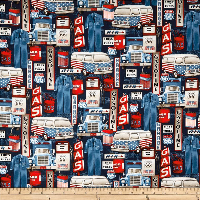 All American Road Trip Gas Station Icons Navy Fabric - your choice of cut