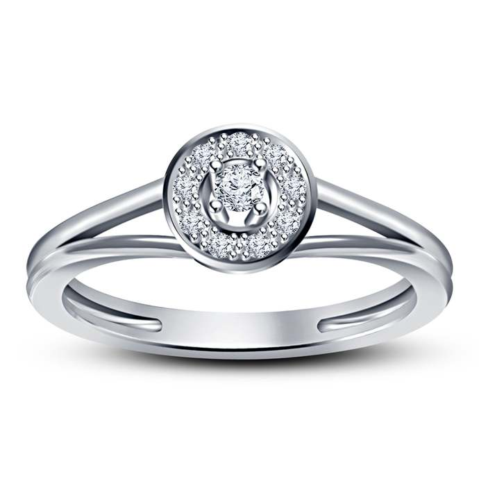 Solid 925 Sterling Silver Ring Round Cut Diamond Ring Solitaire Engagement Ring