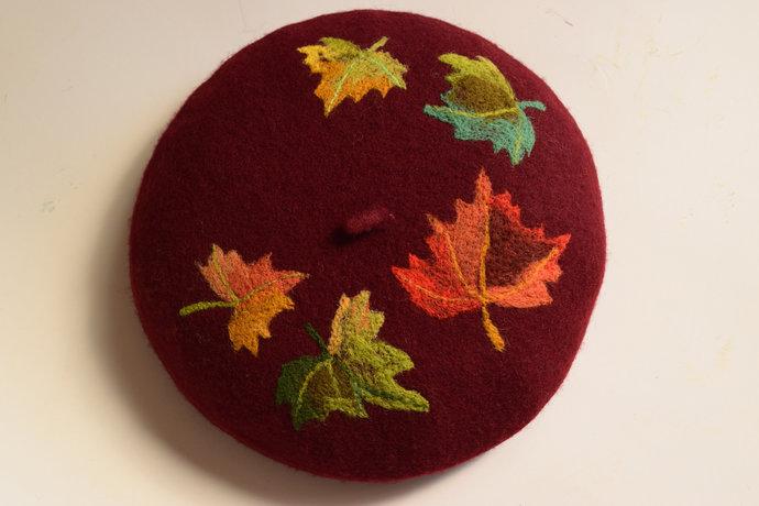 burgundy beret autumn, embroidered beret,wool beret,béret femme,beret women,felt