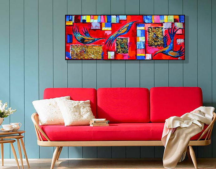 Abstract Heavy textured painting 3d painting contemporary art Large art Birds