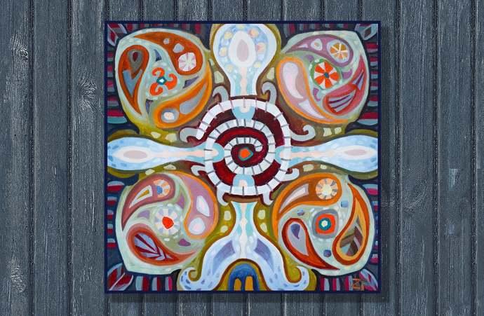 mexico ornament folk art painting Mexican Ethnic Painting wall decor mexico folk