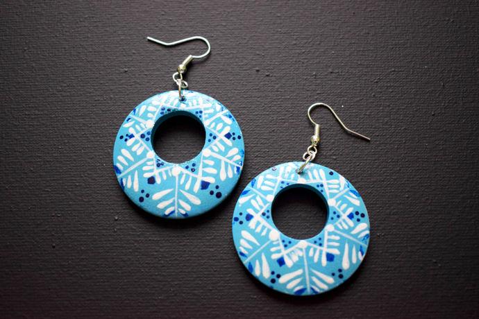 Teal wooden earrings Wooden earrings Wooden jewelry Folk wooden earrings Folk