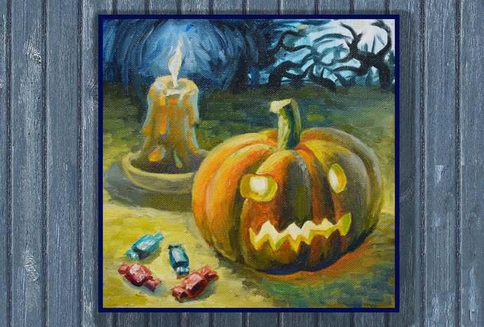 halloween pumpkin painting halloween canvas art halloween oil painting pumpkin