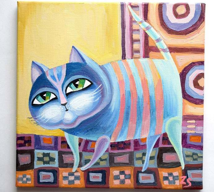 striped cat Paintings on canvas cat Oil painting canvas Art oil canvas  painting