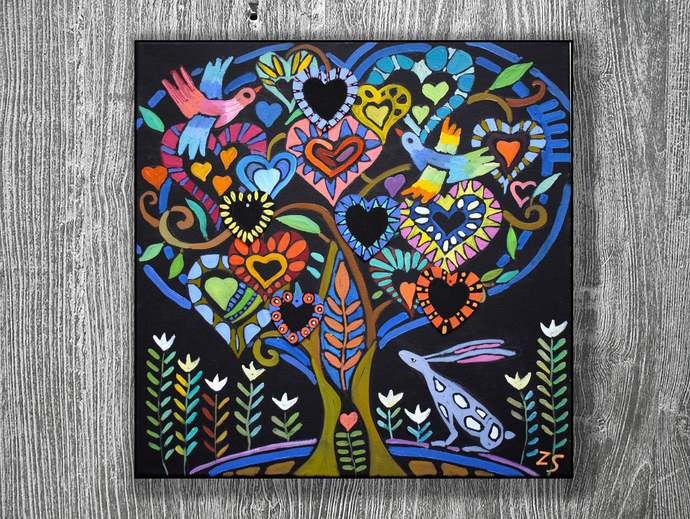 Custom Family Tree Personalized family tree Heart tree Oil painting family tree