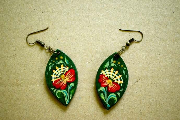 Green earrings Painted earrings Painted jewelry hand-painted jewelry Hand
