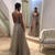 2019 Hot Split Evening Dresses Plunging Neckline Crystal Prom Gowns Custom made