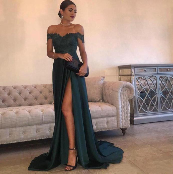 Off Shoulder Evening Dresses with Lace Appliques 2019 Summer Split Long Prom