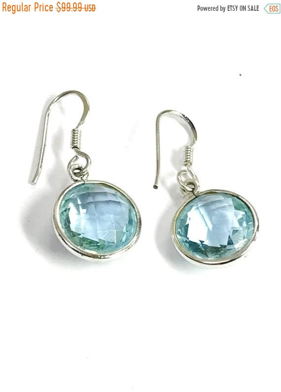 BLUE TOPAZ EARRING ,Briollete Cut , Round shape,Dangle Earrings ,Sky blue , Ear