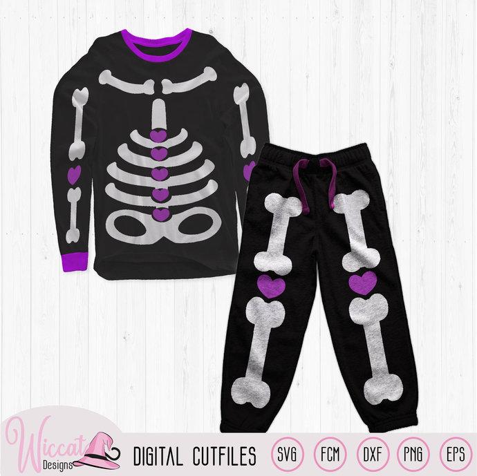 Girl skeleton with hearts, costume for girls svg, skeleton suit svg, Toddler