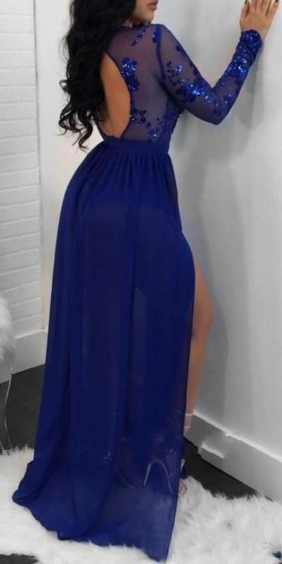 2020 Arabic Royal Blue A Line Chiffon Prom Dresses With Long Sleeves Sequins