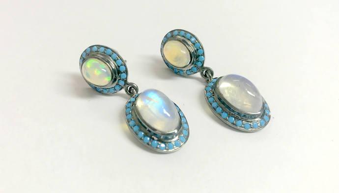 ETHIOPIAN OPAL & RAINBOW Moonstone Turquoise 925 sterling silver earrings,opal