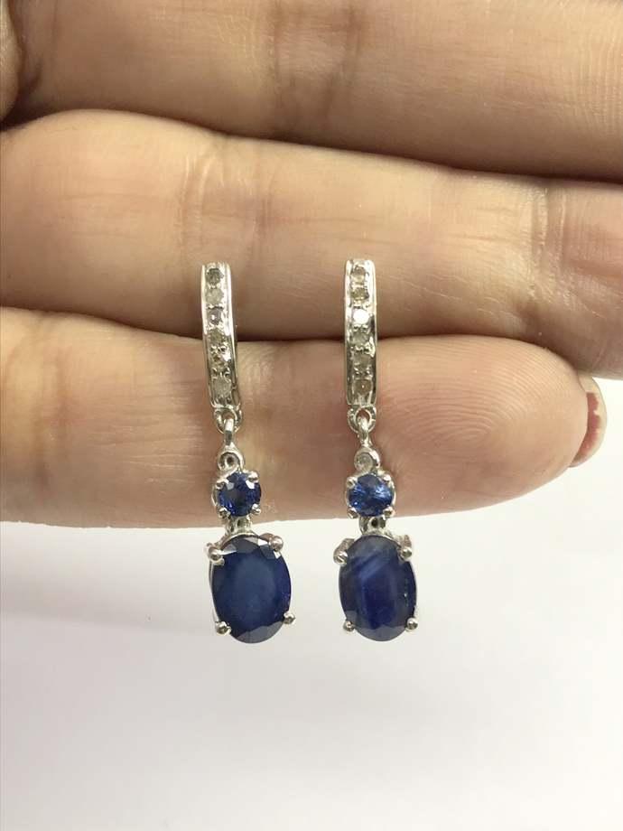 BLUE SAPPHIRE DROP Earrings, 925 Sterling silver,Dangle Earrings ,September