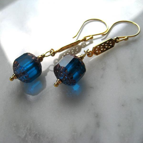 Blue Czech Glass Earrings