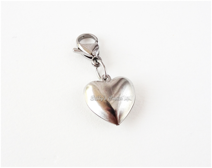 Stainless Steel Heart charm with Clip, Zipper Pull, Pet Jewelry, Cat Collar