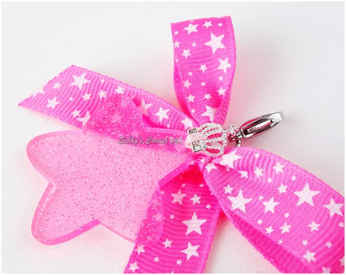 Pink Princess Acrylic Star Charm with Bow, Kawaii Charms, Pet Accessories, Photo