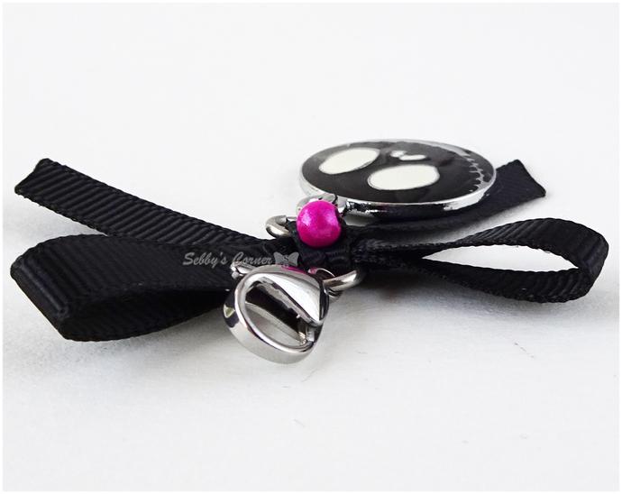 Cute Black Skull Charm with Ribbon, Halloween, Kawaii, Goth, Gothic, Pet Collar