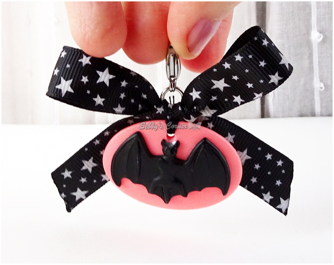 Pink Bat Cameo Charm with Black Bow, Halloween, Creepy Cute, Pet Accessories,