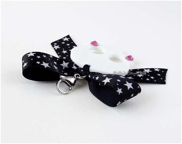 Kawaii Skeleton Charm with Star Print Bow, Creepy Cute, Pet Photography, Cats,