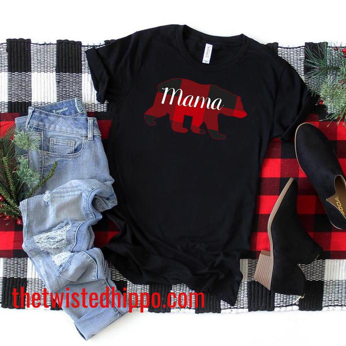 Buffalo Red Plaid Christmas Holiday Matching Pajama Black Mama Bear Unisex Tee