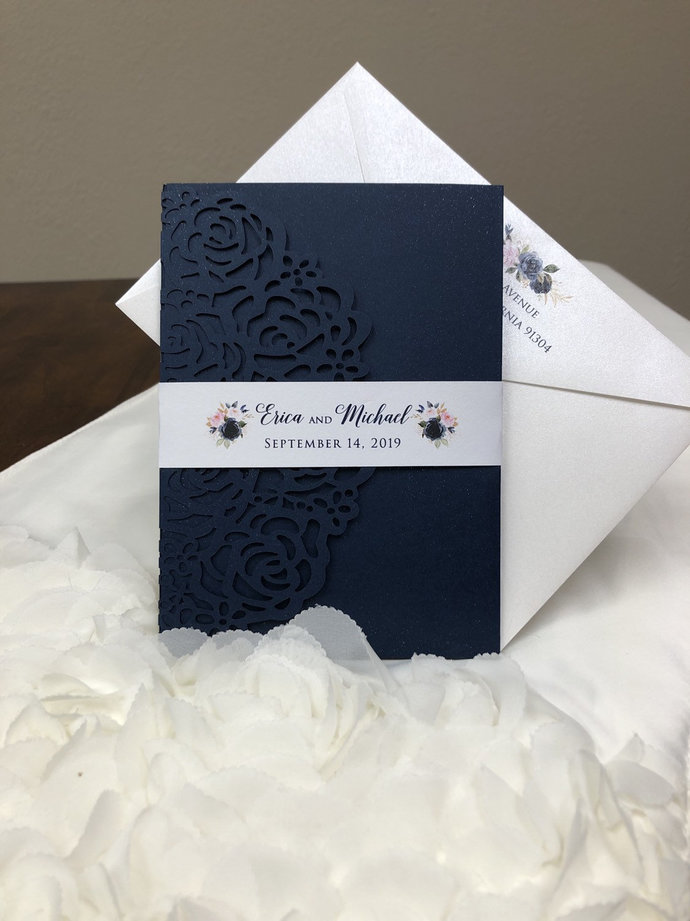 Gorgeous Navy and Blush Laser Cut Wedding Invitations with Floral Design Pocket
