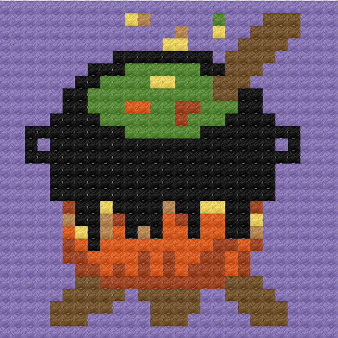 Witches Cauldron C2C Crochet Pattern Halloween Panel Graph w/ Color Block