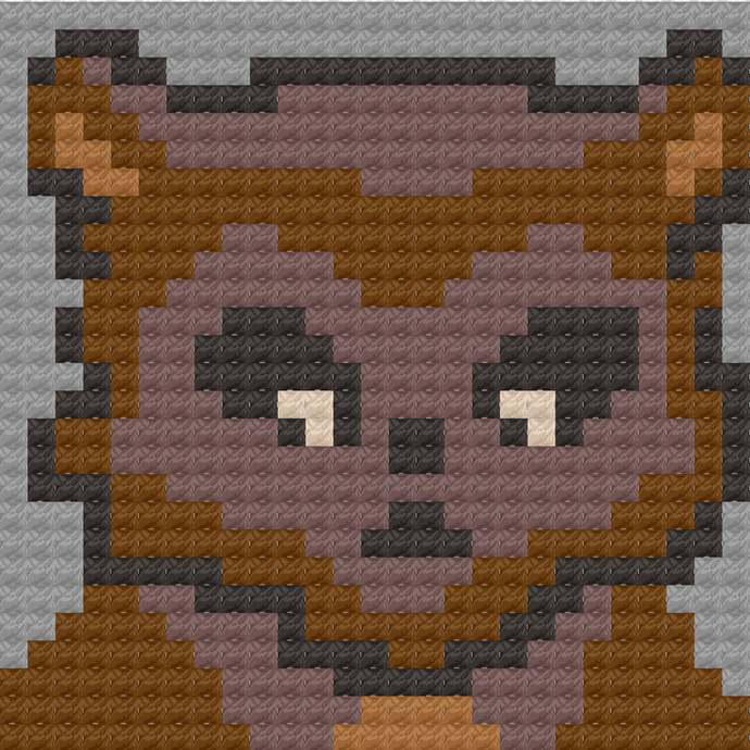 Wolfman Jack Werewolf C2C Crochet Pattern Halloween Panel Graph w/ Color Block