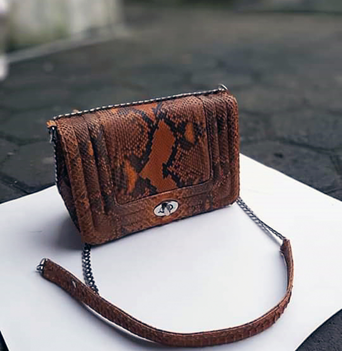 Real Python Snakeskin Handbag - Women Evening Clutch Bag