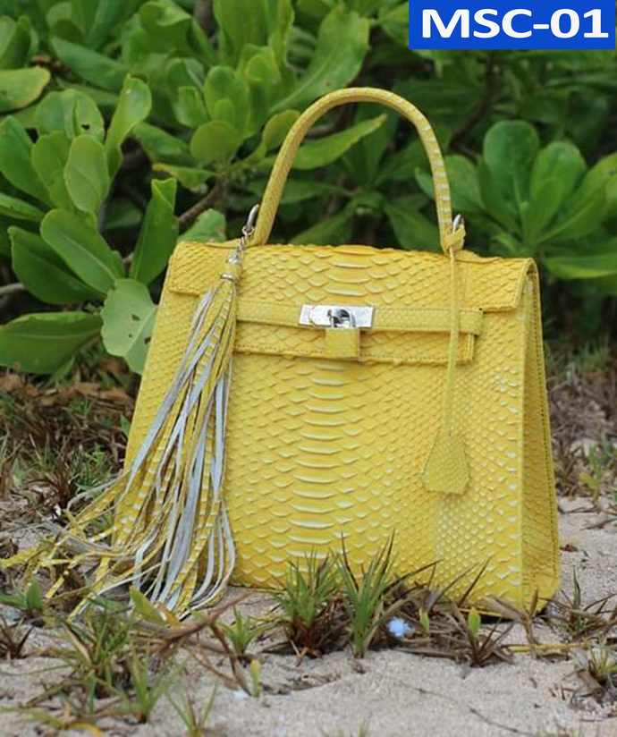 Genuine Python Women Kelly Leather Bag