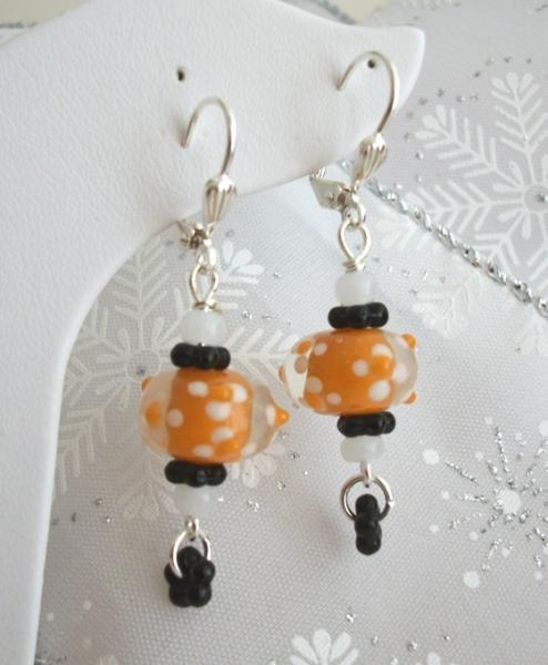 Handmade Lampwork Orange Silver Dangle Earrings