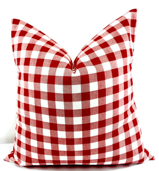 Red Plaid Pillow cover. Red & White Pillow case. Plaid Country style sham cover.