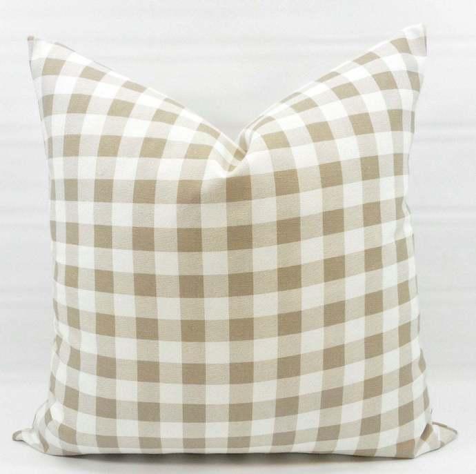 Ecru Plaid Pillow cover. Ecru  & White Pillow case. Plaid Country style sham