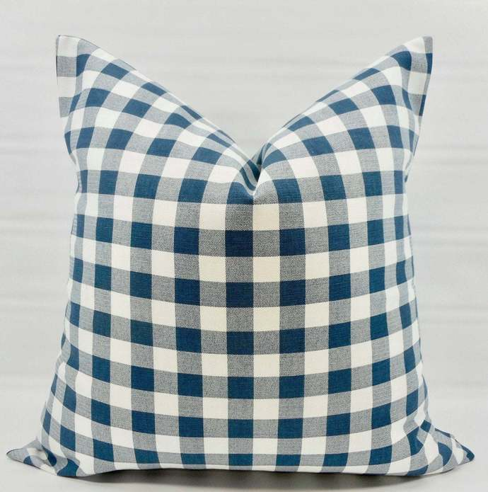 Premier navy Blue Plaid Pillow cover. Blue  & White Pillow case. Plaid Country
