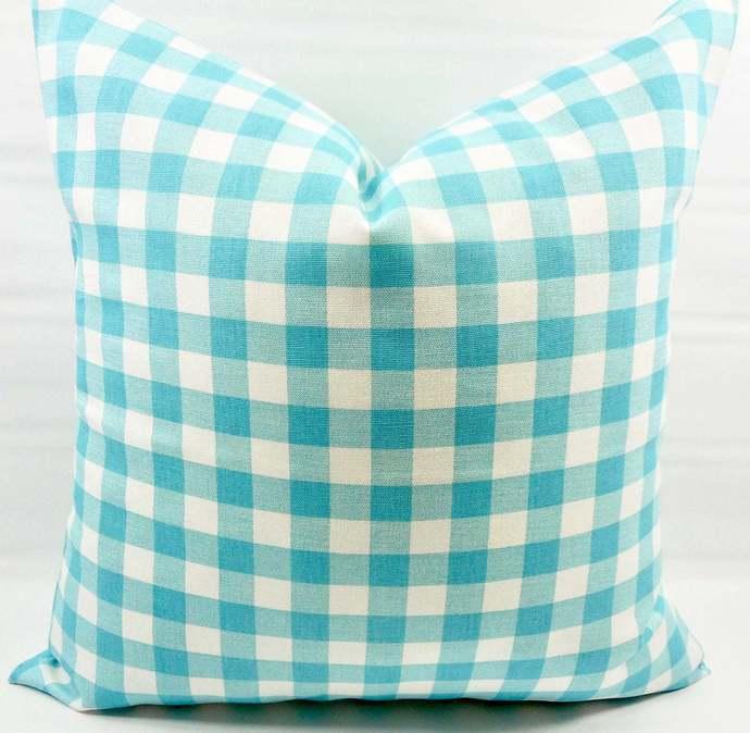 Coastal Blue  Plaid Pillow cover. Blue  & White Pillow case. Plaid Country style