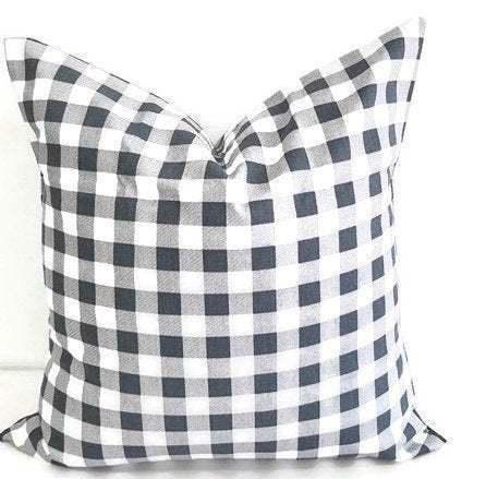 Gunmetal  grey Plaid Pillow cover. Grey & White Pillow case. Plaid Country style
